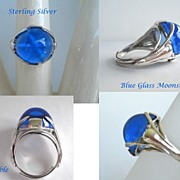 SOLD Unusual 1930's Vintage Art Nouveau Blue Domed Moonstone Ring Sterling Silver Starfish I