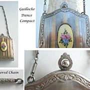 SOLD Vintage Dance Compact Guilloche Enamel Flowers Silver Chain Handle Double Compartments Ro