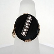 SOLD Men's or Women's Vintage 1920's 14KT Gold Art Deco Diamond Onyx Ring Hallmarked