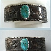 SOLD Rare Antique Circa 1900 Exceptional Native American Navajo Cuff Bracelet Coin Silver Gree