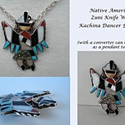 Large Vintage Native American Colorful Zuni Knife Wing Dancer Inlaid Stones Brooch Sterling Si