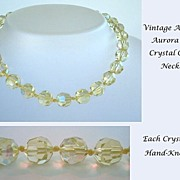 Enchanting Vintage Light Yellow Citrine Aurora AB Crystal Necklace Hand Knotted