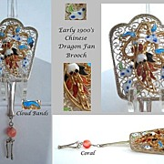 SOLD Exquisite Early 1900's Vintage Oriental Chinese Dragon Siver Fan Brooch Marked Vibrant