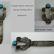 SOLD Ornate Vintage Native American Navajo Bookmark Sterling Silver Turquoise Hand Stamped