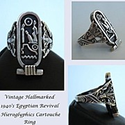 SOLD Unique Vintage 1940's Egyptian Revival Ring Hieroglyphics Pharaonic Cartouche 800 Silve
