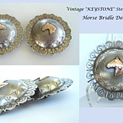 SOLD Vintage Set Western KEYSTON Sterling Horse Bridle Concho Decorations Intricately Engraved