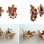 Autumn Fall Vintage Rhinestone Earrings Hyacinth Deep & Light Golden Topaz