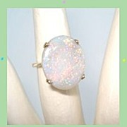 SOLD Vintage 14K Yellow Gold LARGE SPECTACULAR Fire Opal Gemstone Ring October Birthstone