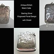 SOLD Antique British Victorian Pocket Vesta Match Safe Sterling Silver Engraved Florals & Shie