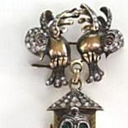 SOLD Rare Vintage European Lapel Watch Love Birds Perched on Bird House 800 Hallmarked
