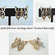 Vintage Vermeil Gold Fill over Sterling Silver Butterfly Earrings Exquisite Engraved Details .