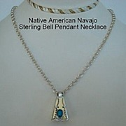 Vintage Native American Articulated Bell Pendant Necklace Turquoise Sterling Silver Hand ...
