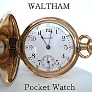 SOLD Vintage 1906 Waltham Ladies Pocket Watch Engraved Art Nouveau Florals G.F. Hunter Case