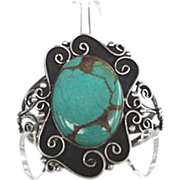 Large Magnificent Native American Green Turquoise Bracelet Sterling Silver Ornate Floral Desig