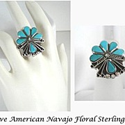Exquisite Floral Design Vintage Native American Inlaid Turquoise Ring Sterling Silver Overlays