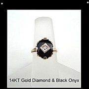 SOLD Vintage 1920's 14KT Gold Art Deco Diamond & Black Onyx Ring Hallmarked