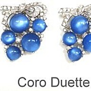 SOLD Vintage 1930's Coro Duette 2 Dress Clips Blue Moonstones & Rhinestones Marked