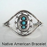 Feminine Vintage Native American Navajo Bracelet Shadow Box Lace-Like Design Sterling Silver T