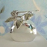 SOLD Premier Vintage Scandinavia WARG Sterling Silver Perfume Bottle Top Designed with Berries