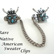 SOLD RARE Vintage Native American 1950's Sweater Clip Guard Horned Kachina Head Turquoise St