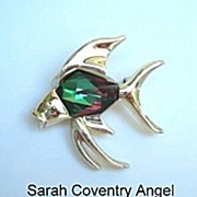 Vintage Sarah Coventry Brooch Tropicana Chinese Fish Figural Pin Huge Watermelon Glass Belly S