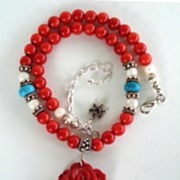 SOLD Stunning Artisan Choker Necklace Hand Carved Coral Rose Pendant Turquoise & MOP Beads Ste