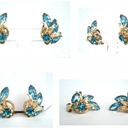 Vintage Earrings Crystal Clear Aquamarine & Blue Zircon Rhinestones Graceful Climbing Leaves &