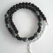 Stunning Artisan Necklace Faceted Black Onyx Beads & Vintage Sterling Silver Turquoise Beads