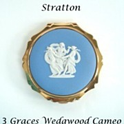 SOLD Rare Vintage STRATTON England Compact Three 3 GRACES Josiah Wedgwood White Cameo Blue Jas