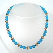 SOLD Stunning Sleeping Beauty Turquoise & Gold Filled Choker Necklace with Free Extender Chain