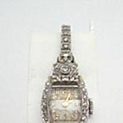 SOLD Retro Vintage Bulova 14K White Gold Watch 1 Carat of Diamonds