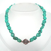 SOLD Stunning Kingman Mine Natural Turquoise & Gold Filled Choker Necklace Free Extender Chain