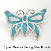 Wonderful Vintage Mexican Sterling Silver Butterfly Brooch Turquoise Color Enamel Inlay on ...