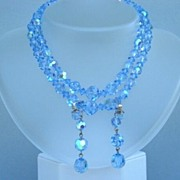 Enchanting Vintage Sapphire Blue Aurora AB Crystal Set Double Strand Choker Dangle Earrings