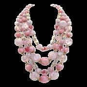 Stunning Vintage West Germany Necklace PINK Molded Plastic Quadruple 4- Strand AB Faux Crystal