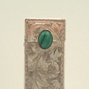 SOLD Vintage Italian 800 Silver Lipstick Case Engraved Florals & Flourishes Malachite Cabochon