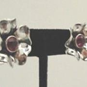 Exquisite Vintage Sculpted Sterling Silver Flower Earrings Amethyst Rhinestones Marked