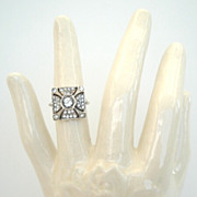 SOLD Vintage Art Deco Egyptian Pyramid Shape Sterling Silver Ring Paste Marked