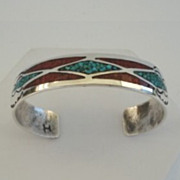 Vintage Native American Bracelet Turquoise & Coral Chip Mosaic Inlay Sterling Silver Stamped .