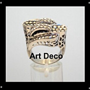 SOLD Spectacular UNIQUE Vintage ART DECO Sterling Silver Marcasite Ring Asymmetrical Pierced H