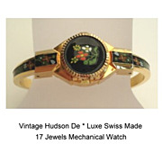 SOLD Exquisite Vintage Hudson Swiss 17 Jewels Watch Hand Painted Enamel Flowers