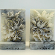 SOLD Beautiful Vintage Hand Carved Soapstone Floral Bouquet Bookends