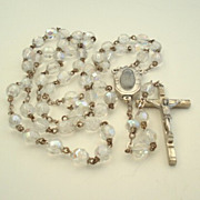 SOLD Vintage Italian Lourdes Pilgrimage Rosary Faceted Aurora AB Crystals Holy Water Compartme