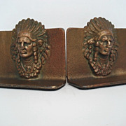 SOLD Vintage Native American Indian Chief Bookends Cast Bronze Finish