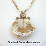 SOLD Vintage Swiss SHEFFIELD World Continents Pendent Hidden Watch Necklace Mechanical Keeps P