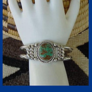 Vintage Native American Navajo Bracelet Large Green Turquoise Stone Sterling Silver