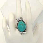 Prettiest Ever Turquoise Stone 1950's Vintage Native American Ring Leaf Overlays Sterling Silv