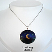 "SOLD RARE Vintage Lundberg Studios ""Night Sky"" Glass Pendant Sterling Silver"