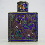 SOLD Early 1900's Japanese Cloisonné Scent Bottle Vibrant Floral & Animal Display
