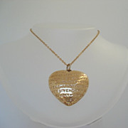 Vintage French Haute Couture Engraved GIVENCHY Puffy Heart Pendant Gold Plated